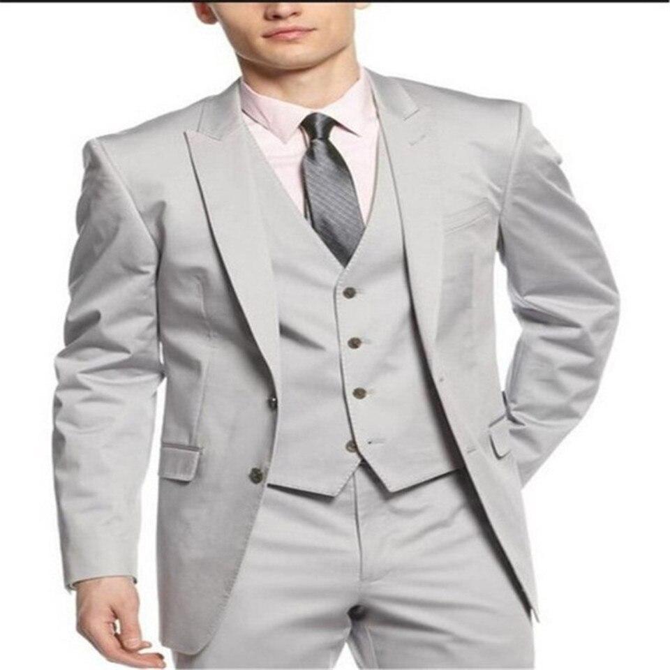 New Classic Men's Suit Smolking Noivo Terno Slim Fit Easculino Evening Suits For Men Light Grey Groom Tuxedos Groomsmen Wedding