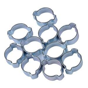10 pacote de mini orelha dupla o clipes mangueira tubo braçadeiras de combustível, 7-9mm-aço carbono