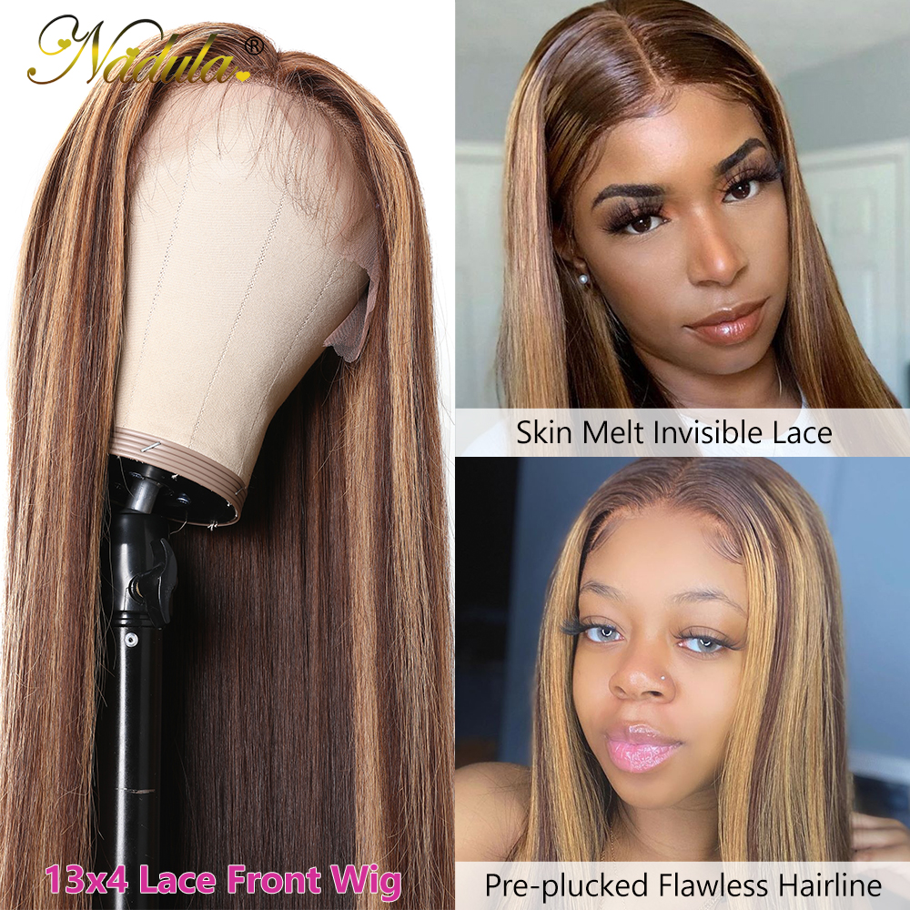Nadula Hair 13X4 Straight Lace Front Wigs 150% /180% Density Highlight Lace Front  Wigs Virgin Hair Highlight Wig 2