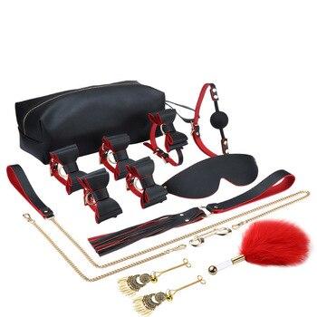 9 Stück/Set BDSM Sex Bondage Spielzeug Set Fetisch Sklave Leder Folter Kit Handschellen Peitschen 1