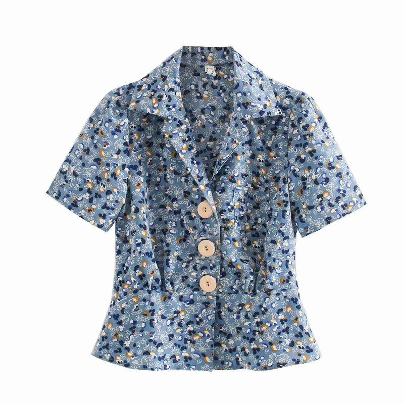 2020 Women French Style Flower Print Casual Smock Blouse Office Ladies Short Sleeve Buttons Shirts Chic Brand Blusas Tops LS6675