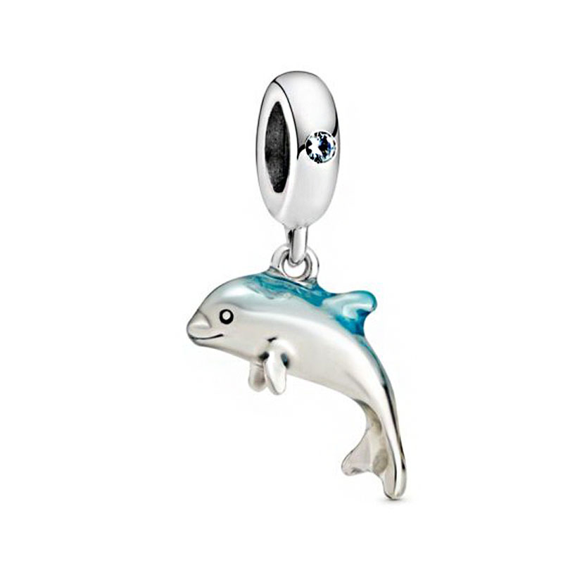 2020 Summer New 925 Sterling Silver Shimmering Dolphin Dangle Charms Beads Fit Original Pandora Bracelets Women DIY Jewelry