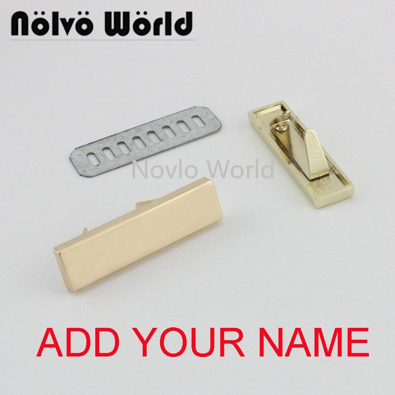 5-20-100 Pieces,write YOUR NAME 46*12mm Gold Light Gold Handbag Rectangle Ornament Metal Purse Label Tags,Make Bag Purse Label