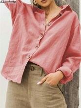 Mulheres de manga longa topos camisa da senhora casual trabalho moda algodão linho topos boa qualidade hotsale meninas roupas skoonlado