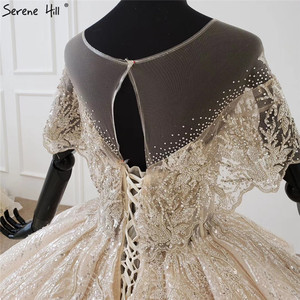 Image 5 - Serene Hill Luxury Dubai Champagne Short Sleeves Wedding Dresses 2020 Sequins Beading High end Bridal Gowns DHX0072 Custom Made