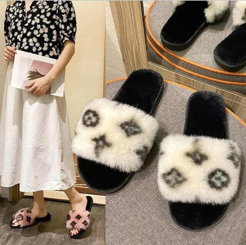 Fall Winter New Women 2020 Soft Bottom Non-slip Home Wear Warm Durable Plush Slippers Outdoor Leisure Flowers Fashion Sandals