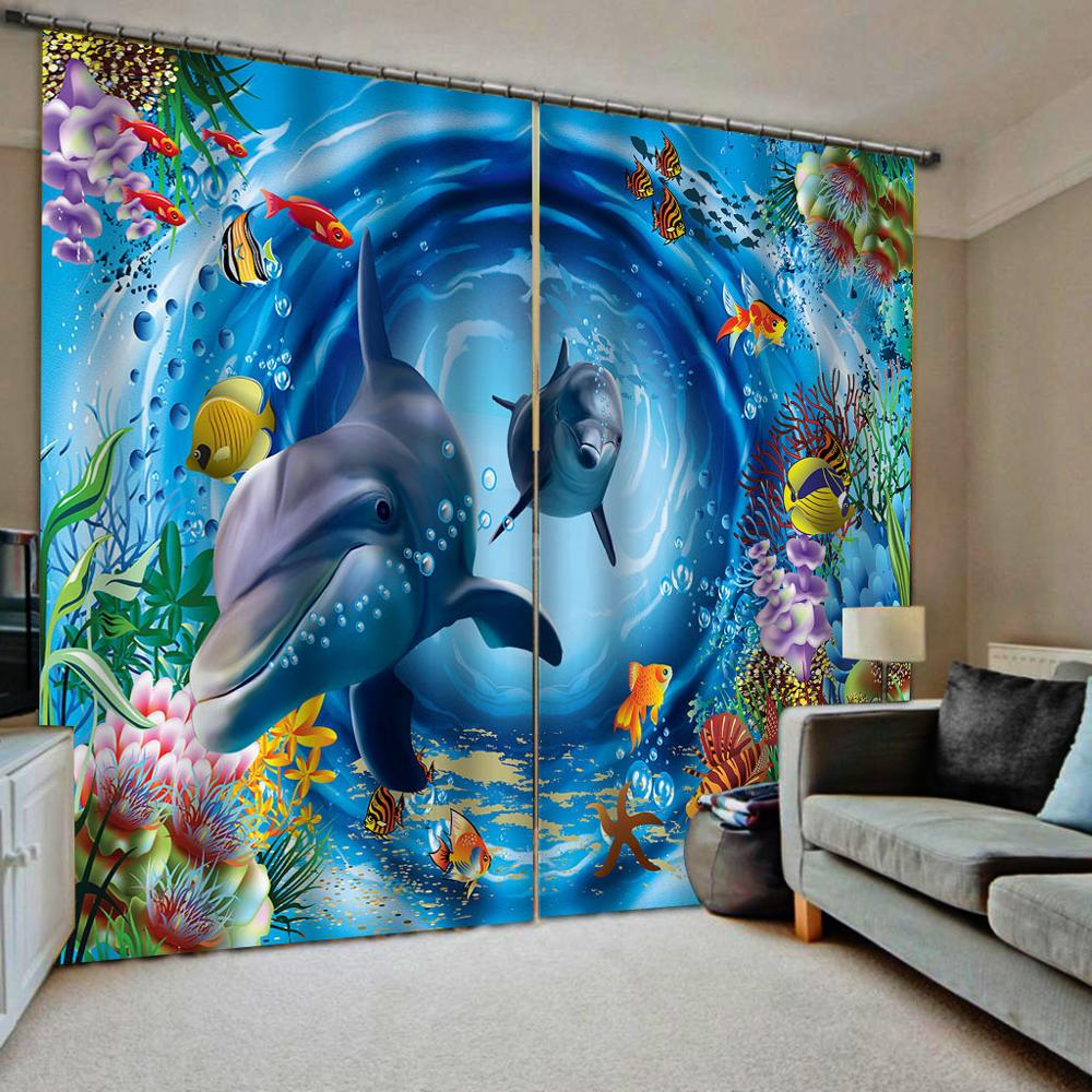blue curtain Ocean dolphin curtains 3D Curtain Luxury Blackout Window Curtain Living Room Blackout curtain