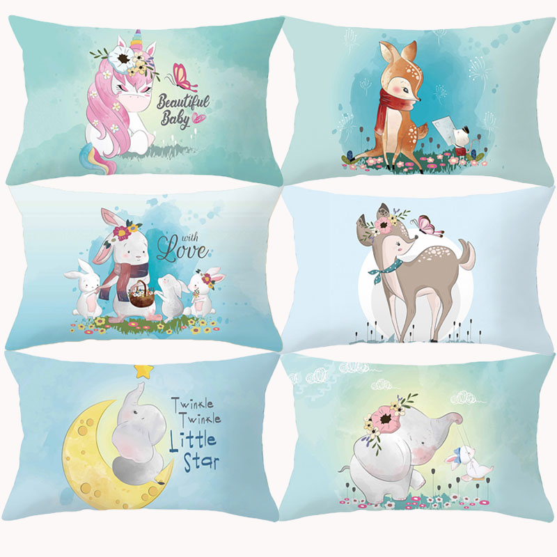 Cartoon Animal Pillow Cover Cushion Cover Funny Rabbit Deer Elephant Children Kids Room Decor Decorative Throw Pillows For Couch