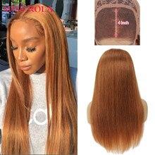 Miss Rola brésilienne Staright cheveux perruque 4*4 dentelle fermeture perruques de cheveux humains brun 30 99J BUG Orange Blonde Remy pré plumé perruque de dentelle