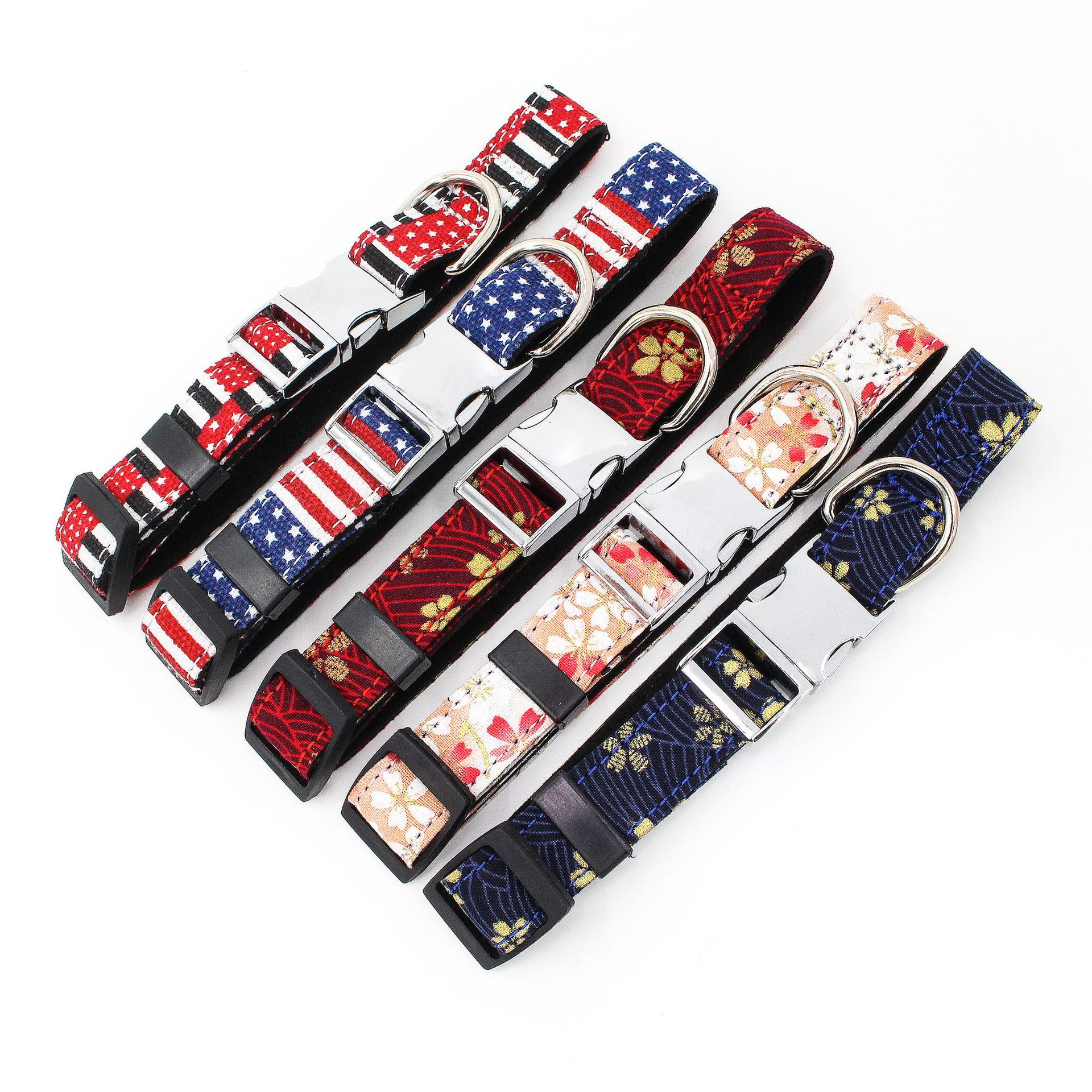 Jin Ling Jie New Style Fabric Pet Collar Metal Buckle Neck Ring Microfiber Underlay Bag Comfortable Pet Collar Dog Supplies