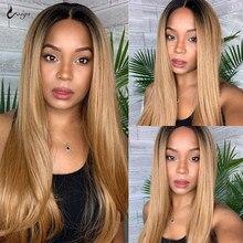 Bone proste włosy ludzkie peruka miód blond koronki przodu peruki dla czarnych kobiet 1b 27 brązowy peruka brazylijski wstępnie oskubane z dzieckiem włosy