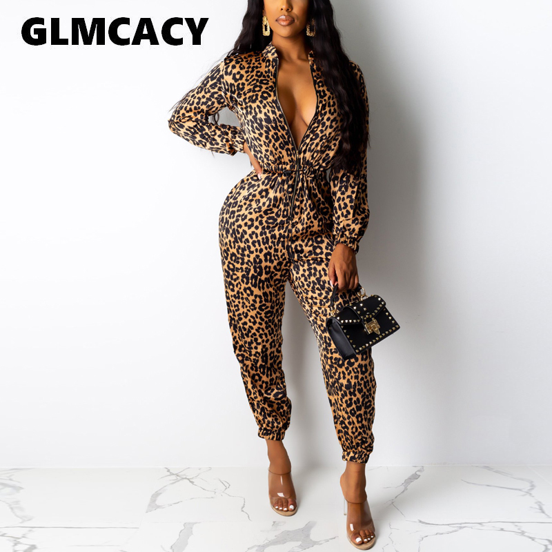 Women Leopard Printed Long Jumpsuit Long Sleeve Zip Up Overalls Outfits Casual Turn Down Collar Sexy Autumn Party Clubwear