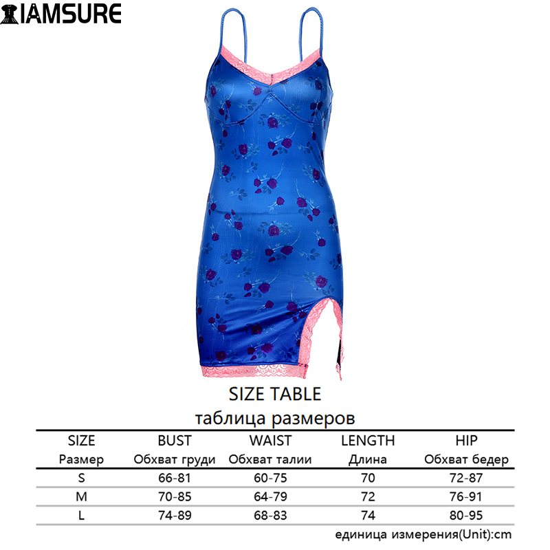 IAMSURE Streetwear Fashion Lace Edge Sexy V-Neck Split Bodycon Dress For Women Flower Print Aesthetic y2k Female Mini Dresses 8