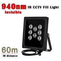Iluminador Invisible IR de distancia de 60M 940NM, 8 Uds., luz LED de visión nocturna IR, luz de relleno CCTV, Lámpara de infrarrojos impermeable IP66 para cámara CCTV