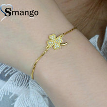 Wholesale Copper Micro Pave CZ Four Leaf Clover Shape Charm Bangle In 3 Colors Top Quality Plating of 5PCS,B0013 цена