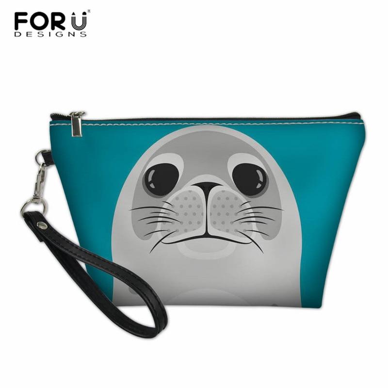 FORUDESIGNS Portable Cosmetic Bag  Cartoon Animal Seal Prints Women Small Toiletry Make Up Bag Kid Girls School Pencil Case