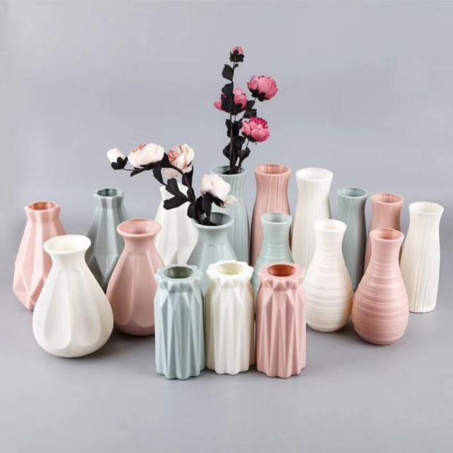 Plastic Flower Vase Decoration Home White Vases Imitation Ceramic Vase Flower Pot Decoration Nordic Style Flower Basket 1