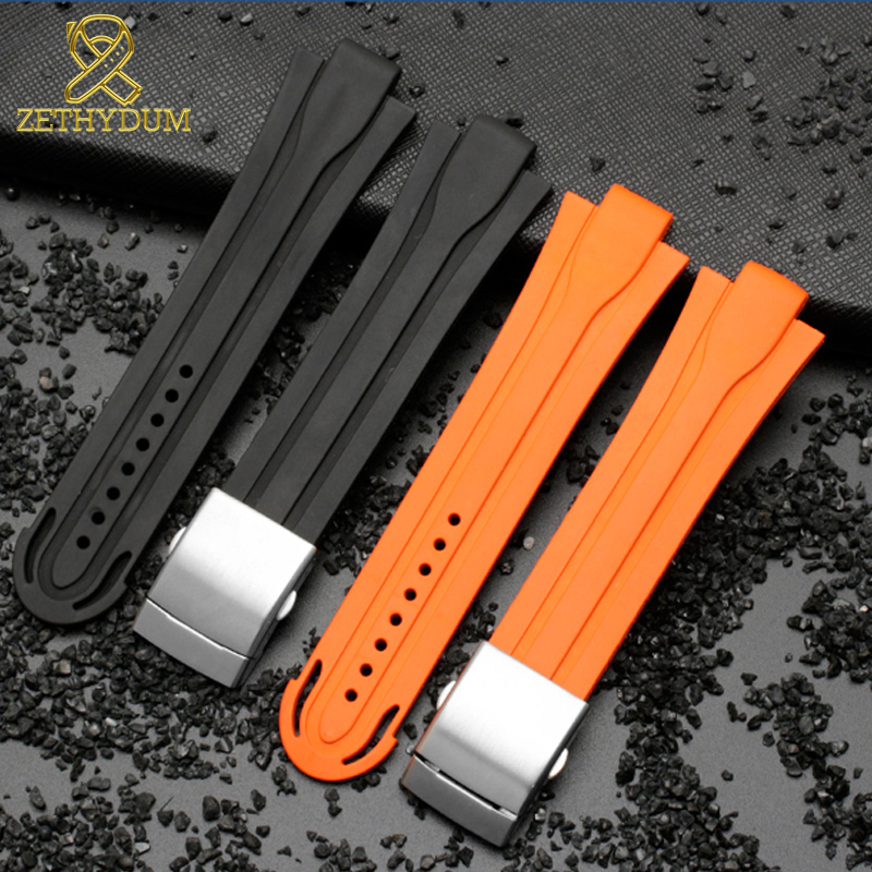 High Quality Rubber Watchband Waterproof Silicone Bracelet Sport Watch Band 24mm*12mm Lug End Strap For AQUIS 7740 Mens Watches