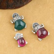 925 Sterling Silver Jewelry Retro Thai Silver Men And Women Wealth Frog Marcasite Inlaid Red Corundum Pendant недорого