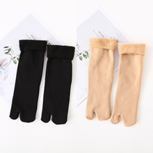 Winter Thicken Warm Japanese Black Nude Toe Socks Wool Two Finger Socks Women Sandal Split Autumn Ladies Kimono Flip Flops Socks(China)