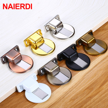 цены NAIERDI Zinc Alloy Door Stopper Magnetic Door Stops Hidden Door Holders Catch Floor Nail-free Doorstop Furniture Hardware