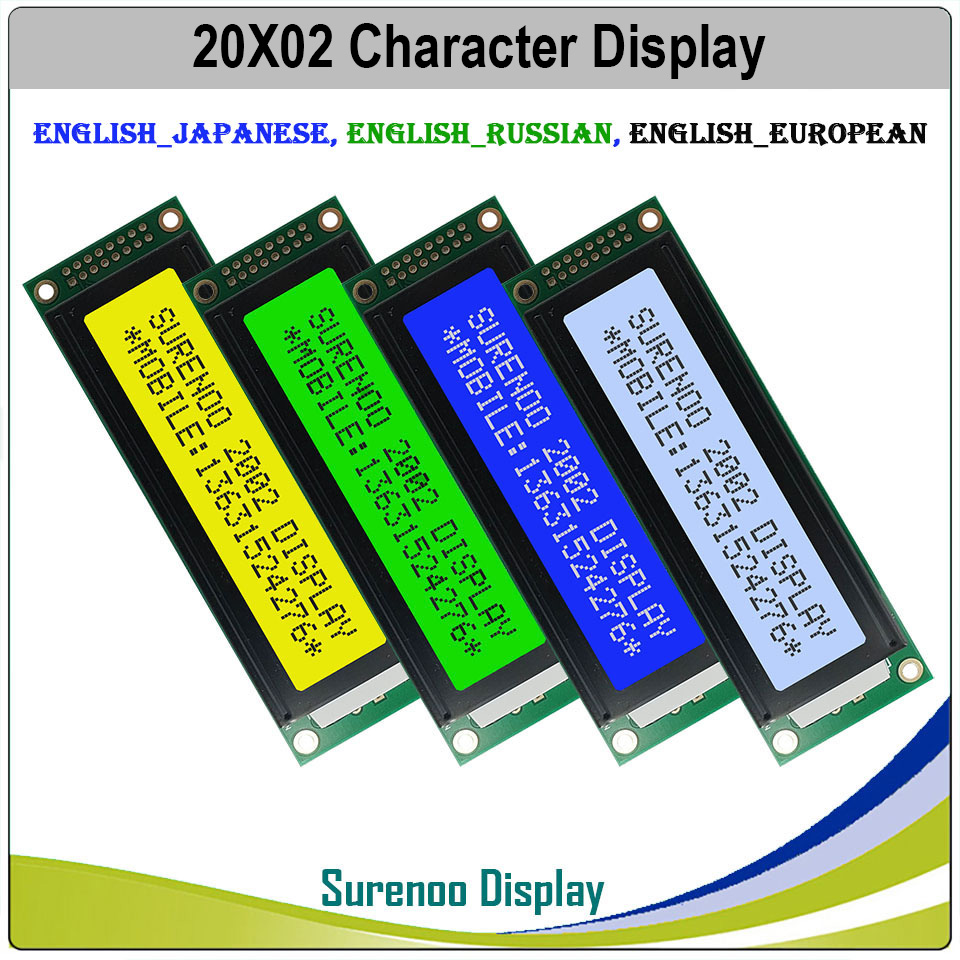 English / Japanese / Russian / European 202 20X2 2002 Character LCD Module Display Screen LCM LCD With LED Backlight