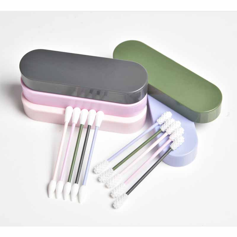 2Pcs/Box Reusable Cotton Swab Ear Cleaning Silicone Washable Makeup Swabs Sticks Soft Flexible Make Up Tools Kit Dropshipping
