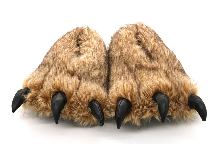 H0f400f36e8274e508dc16870bc3bfbfd2 Pantufa Garra de Urso de Algodão Chinelos Quentes Interior de Inverno das mulheres das Mulheres De Pele Escorregas Senhoras Bonito Animal De Pelúcia Sapatos Femininos De Pele flip Flops