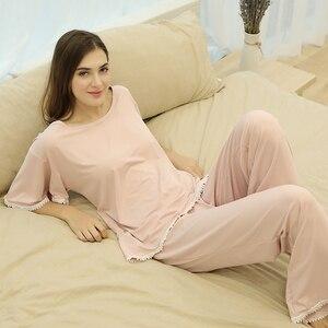 Image 2 - FINETOO Autumn Women Pajamas Sets Pink O Neck Homewear Large Size Girls Sleepwear Womens Pijamas Suit Home Clothes Pyjama Femme