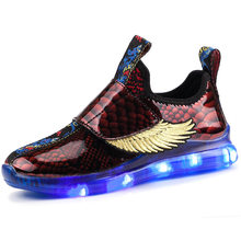 New Children's Wing Light Shoes LED Lamp Shoes USB Charge Boy Girl Shoes(China)