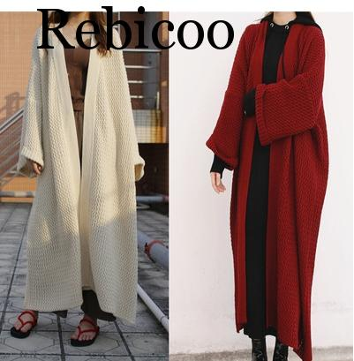 Women Cardigan Winter Sweater Women Extra Long Loose Wool Thick Womens Knitwear 2019 Spring Solid Long Sleeve OverCoat