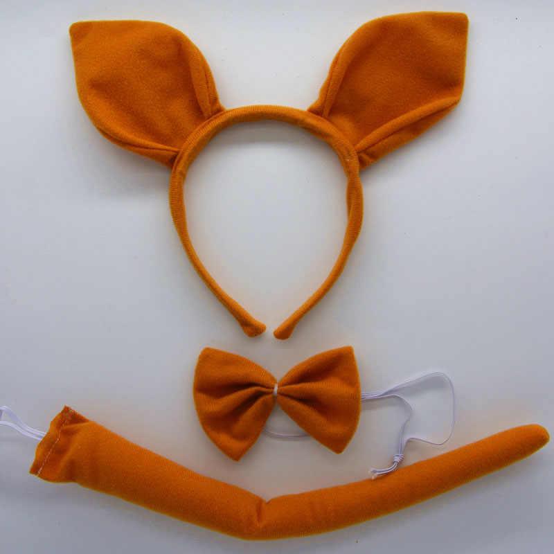 Diadema con orejas de canguro de dibujos animados, Diadema con lazo y cola, conjunto de Cosplay, fiesta para niños, decoración de fiesta de disfraces Halloween