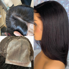 Human-Hair-Wigs Silk-Base Black Average Size with for Women Hairline Brazilian-Hair Lace-Front