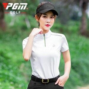 PGM 2020 letnia nowa ultra-rozciągliwa odzież golfowa szybkoschnący damski kołnierzyk z krótkim rękawem T-shirt YF269
