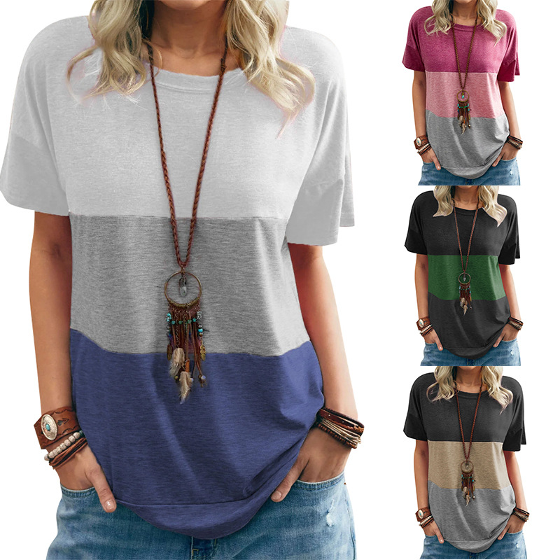 2021 New Spring and Summer Color Matching Round Neck Loose Bat Short-sleeved Three-color T-shirt