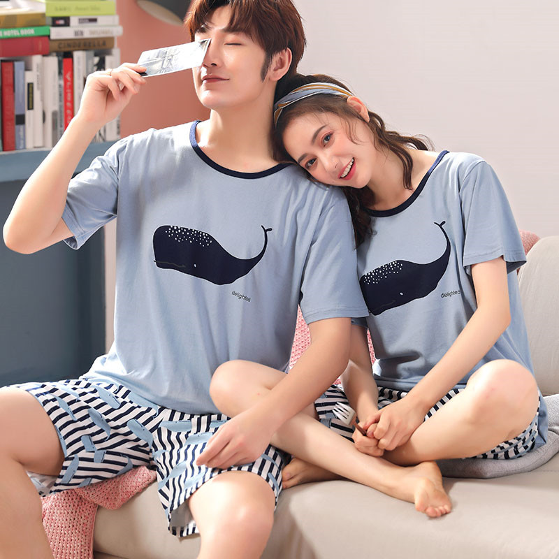 2020 Summer Net Red Couple Pajamas Men's Cotton Short-sleeved Casual Cartoon Whale Lazy Men's Home Service Summer
