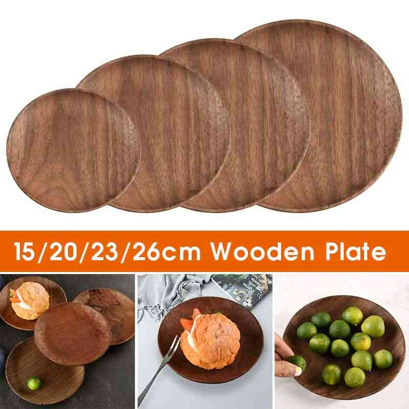15/20/23/26cm Beech Wooden Plate Dishes Fruit Tray Walnut Plates Kitchen Tools Dark Walnut Solid Wooden Bowl Tableware Sets