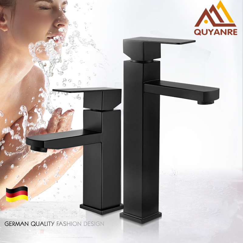 Quyanre Matte Black Square Basin Faucet Black Bathroom Washbasin Mixer Tap Single Handle Mixer Tap Basin Tap Torneira Da Bacia