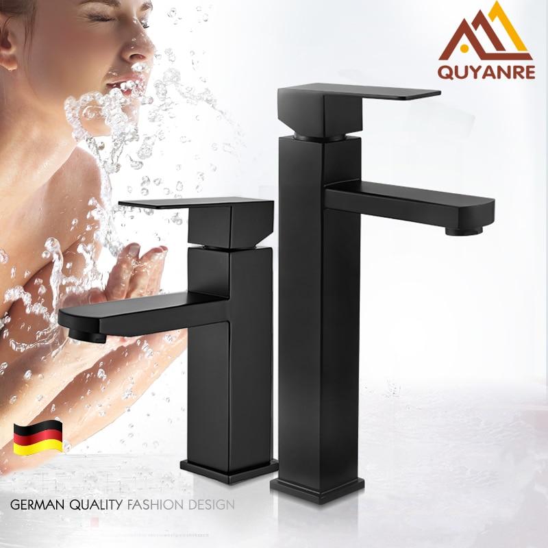 Quyanre preto fosco quadrado torneira da bacia preto banheiro lavatório toque mixer único punho torneira da bacia da bacia