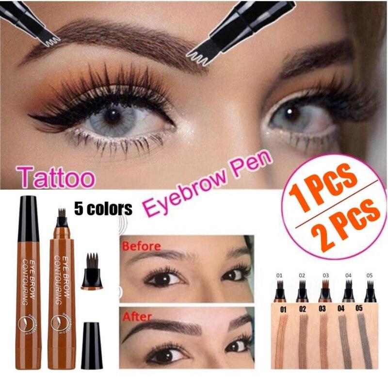 Professional Fine Sketch Liquid Eye Brow Pencil Waterproof Fork Tip Eyebrow Tattoo Pencil Eyebrow Pen Long Lasting