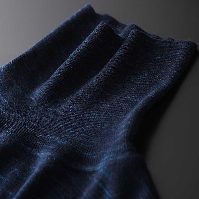 100% 양모 남자 럭셔리 꽃 원사 패브릭 터틀넥 남성 스웨터 가을 겨울 슬림 스웨터 남성 플러스 크기 4XL