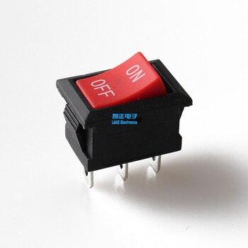 Mini rocker interruptor SPST negro y rojo Snap en botón de interruptores AC 250V 3A / 125V 6A 2 Pin/O en-interruptor basculante