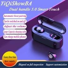 F9 touch light show two way 5.0 wireless headset wireless bluetooth headset TWS ears sports general mini earpiece box