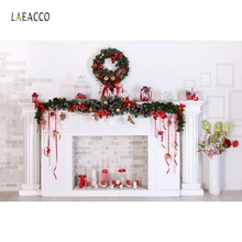 Laeacco Christmas Fireplace Candles Brick Wall Photography Backgrounds New Year Home Decoration Backdrops For Studio Photo