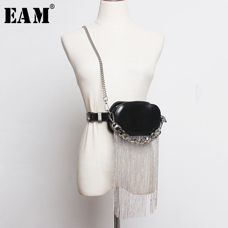[EAM]  Pu Leather Black Tassels Split Joint Mini-bag Long Belt Personality Women New Fashion Tide All-match Spring 2020 1R386