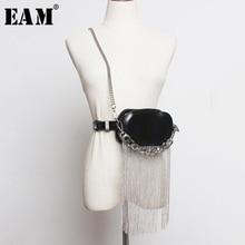 EAM Mini sac fendue en cuir Pu noir pour femme, ceinture longue, personnalité, nouvelle mode, assorti avec tout, printemps 2020 1R386