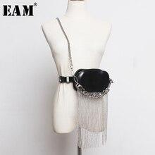 [EAM]  Pu Leather Black Tassels Split Joint Mini bag Long Belt Personality Women New Fashion Tide All match Spring 2020 1R386