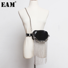 [EAM] PuหนังสีดำTassels Split Joint Mini กระเป๋าเข็มขัดบุคลิกภาพผู้หญิงใหม่แฟชั่นน้ำทั้งหมด Matchฤดูใบไม้ผลิ2020 1R386