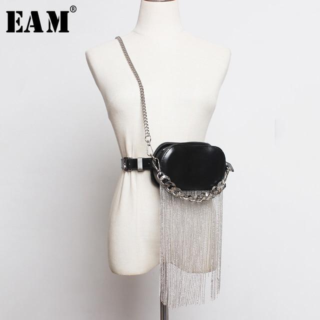 [EAM] بو الجلود الأسود شرابات سبليت المشتركة حقيبة صغيرة الاحزمة الطويلة شخصية المرأة موضة جديدة المد كل مباراة الربيع 2020 1R386