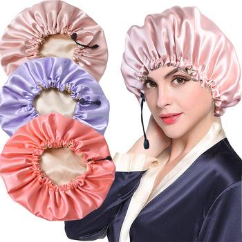 Nowa solidna damska satynowa czapka Fashion Stain Silky Big Bonnet dla pani czapka do spania Headwrap Hat przywieszka do włosów akcesoria regulowane tanie i dobre opinie CN (pochodzenie) 1 pc polyester A2165 Spring autumn winter and summer